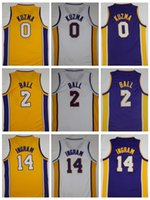New NK Herren 2 Lonzo Ball Trikot 0 Kyle Kuzma 14 Brandon Ingram Blau Weiß Gelb Stickerei genähte Basketball Trikots College Sale