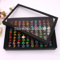 Wholesale Earring Display Show Case - Free shipping Organizer Show Case Jewelry Display Rings Holder Box New Black100 Slots Ring Storage Ear Pin Display Box