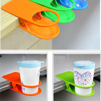 Wholesale Drink Clip Holder Desk - New Design Office Table Desk Drink Coffee Cup Holder Clip Drinklip Christmas gift Home desktop decor free shipping