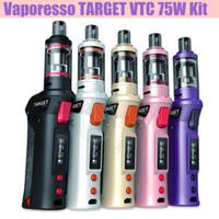 vaporesso target 75w vtc mod kit großhandel-Top Qualität Vaporesso TARGET VTC 75W Mod Starter Kit Temperaturregelung Keramik CELL Spule RDA 18650 Batterie E Zigaretten Vapor Mods