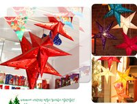 Wholesale Ceiling Christmas Decor - Christmas Pendant Party Supplies Christmas Decorations Party Decorations Red Star Leaf Metallic Foil Hanging Christmas Party Ceiling Decor