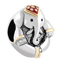 ingrosso antiquariato tailandia-Antique 'D Thailand Charm in stile elefante con perline in argento e oro