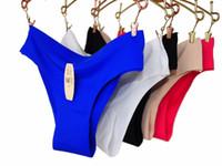 ingrosso nuove marche di bikini-All'ingrosso-6pcs / lot New DuPont Mutandine senza linea Nessuna sfacciata Sexy Bikini Panty Intimo donna Marca Sexy femminile Intimates M L XL