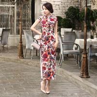 Wholesale Ready Wear Cheongsam - Free Shipping Vintage qipao dress Velvet Chinese Dress Floral Painted Blend Silk Cheong-sam Long Cheongsam Dress T0004