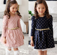 Wholesale Lolita Sweet - Sweet Girls Cotton Dress knee length dress pleated long sleeve girls polka dots dress autumn Princess Dress with belt free shipping