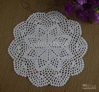 Wholesale Hand Crochet Tablecloths - Crochet Doily hand made understated luxury tablecloths cup mat 24-28CM White 20pcs LOT aa63