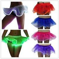 Wholesale Fancy Sparkle - 6 Colors LED Adult Dance Performance Skirt Flashing Sparkling Tutu Skirts Solid Color Fancy Costume Light Mini Tutu Skirts CCA8103 10pcs