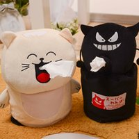 Gros-Cartoon LIttle Black Box eveil Tissue Sourire tactile chat en peluche doux Paper Dolls Peluche Tissue Box Traîneau ménages Fournitures NOUVEAU