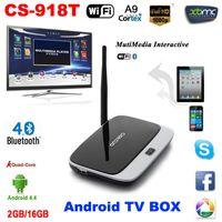 Wholesale Android Tv Cs - XBMC DLNA Miracast Airplay OTG Quad Core ARM Cortex A7 CS-918T Rockchip RK3128t 1080P Bluetooth WiFi 2G 16G Android 4.4 TV Box