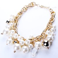 Wholesale Pearl Bubble Bib Necklace - New Arrival Bubble Bib Necklace For Ladies Statement Choker Imitated Pearls Diamonds Noble Necklaces For Women Party Wedding N2588*1