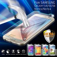 samsung galaxy e7 için temperli cam toptan satış-Gerçek Temperli Cam Ekran Koruyucu Için Samsung Galaxy S5 S6 Not4 Not Paketi ile A3 A5 A7 A8 E5 E7 J1 J5