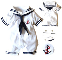 Wholesale Overalls Short Sleeve - Baby Boys Girls Summer Short Sleeve Romper Newborn Toddler Boy Overall Navy Style Clothing Romper Baby Clothes Jumpsuit Onesies 4pcs lot