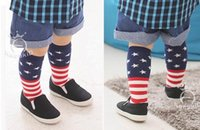Wholesale Poker Designs - 2016 New Design Baby Socks National Flag Poker Print Cotton Knee Length Socks For Kids 15082