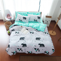 Wholesale Polar Sheets - Wholesale- Lovely polar bear pattern white bedding sets bedlinen 100% cotton fabric duvet cover set Twin Queen King Size flat sheet