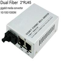 Wholesale Port Fiber Optic - Fiber optic Dual Fiber media converter 2 port RJ45 gigabit ethernet media converter sfp sc ports