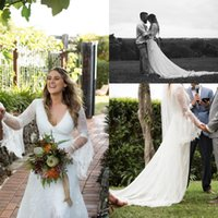 Wholesale Dreamy Castle - Dreamy Spring Garden Wedding Dresses 2016 Lace Sheer Long Sleeves Wedding Gowns Summer V Neck Sexy Back Sheath Bridal GownsLow Slit