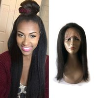 Wholesale italian yaki human hair lace wigs for sale - Group buy Top Italian Yaki Lace Frontal Wig virgin Human Hair Lace Wig Pre Plucked with baby hair bleached knots kinky straight inch