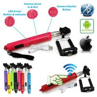 Wholesale Colors Mobile Android - Bluetooth monopod portable Wireless self timer stick monopod with focus enlarger narrow function for mobile phone ios android colors 100pcs
