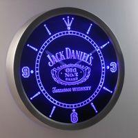 Wholesale Dropshipping Clock - nc0477 Jack Neon Sign LED Wall Clock (a048 design) LUMINOVA Neon Sign Bar Beer Decor LED Wall Clock Free Shipping Dropshipping Wholesale