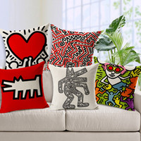 Wholesale red color seat covers resale online - Keith Haring Creative Art Painting Sofa Cushion Covers Cartoon Dog Thick Linen Cotton Pillows Cover Sofa Chair Seat Decoration