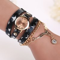 New Fashion Multilayer Chain Sling Montre étoile à cinq branches imprimé faux cuir analogique bracelet à quartz Montre-bracelet
