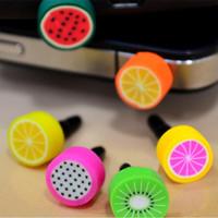 Wholesale iphone ear jack plug online – New MM Interface Fruit Anti Dust Jack Plugs Earphone Dustproof Ear Cap Stopper for iPhone iPad Samsung Blackberry Smart Phone