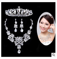 Wholesale 2015 Rose Gold Bridal Jewelry Sets Cream Faux Pearl Rhinestone Crystal Diamante Wedding Necklace and Earrings TOP0000000597