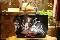 Wholesale Flower Imports - Women fashion totes Exclusive imported material plus real leather 41cm large volume shopping totes printed different patterns