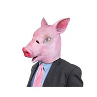 Wholesale Pig Costume Adult - Wholesale-Halloween Magical Creepy Adult Pig Head Latex Rubber Mask Animal Costume Prop Toys