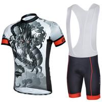 Wholesale Dragon Cycle Set - Grey Cycling Bib Jersey Sets Short Sleeve Breathable Bicycle Jersey Sets for Men Zipper Closure Dragon Pattern CJ-010