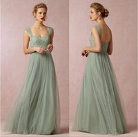 Wholesale Necklines Sweetheart Princess - Sage Green Princess Long Bridesmaid Dresses A-line Sweetheart Neckline Cap Sleeves Tulle with Lace Floor Length Prom Dresses BO8554