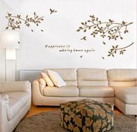 quarto mural preto venda por atacado-Black White Coffee Birds no Ramo de Árvore Decalque em Parede Art Sticker Sala de estar Quarto Quarto Citação Mural Poster