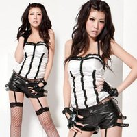 Wholesale Corset Girl Costume - DS lead dancer clothing   Bra strap halter style corset white   black leather pants   club clothes   Spice Girls clothes