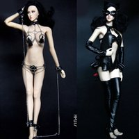 Wholesale Catwoman Action Figures - Mnotht Toy 1 6 Female Solider Sexy Catwoman Suit Clothes HP016 HP017 SM Chain Lingerie for Phicen 1 6 Female Action Figure l30