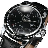Wholesale Orkina Mens - Wholesale-New Luxury Orkina Mens Black Analog Sport Quartz Date Leather Band Wrist Watch