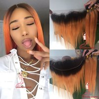 Wholesale Orange Hair Weave - 1b orange Human Hair Bundles With Lace Frontal silky straight 1b orange Ombre Hair With Lace Frontal 13*4 Pre Plucked hairline