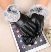 Wholesale Leather Ski Gloves Women - Women Winter Gloves Touch Screen Ski Gloves PU leather Female gloves Waterproof Faux Rabbit Fur mujer gants guantes tactil luvas