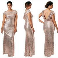 Pailletten Mantel Brautkleider Ärmel Kaufen -Charmante Rose Gold Billig 2016 Mantel Brautjungfer Kleider Kurze Ärmel Sequins Backless Plus Size Beach Brautkleider Light Gold Champagner