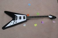 Wholesale Solid Guitar Picks - Free shipping 2015 High quality NEW style GBBSON H pick-up flying V type Black electric guitar