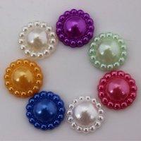 Wholesale Spike Bead Resin - 200PCS 12mm Imitation pearls Flower Half Pearls Beads ZZ98