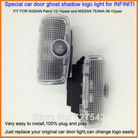 Wholesale Car Nissan Patrol - 2X Latest LED Car door laser projector ghost shadow logo light For NISSAN Patrol 12-14year and NISSAN TEANA 08-12year+Free ship