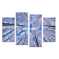 Wholesale framed art ideas - 4PCS paints white tree arts skyline Wall painting print on canvas for home decor ideas paints on wall pictures art No framed