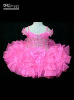 Wholesale Toddler Girls Flower Design Dress - 2015 new design fuchsia Toddler pageant dresses Off The Shoulder Girl's Pageant Dress Infant Baby cupcake Pageant Dress Flower girl dresses