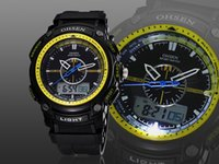 Wholesale Dual Time Boy Sports Watch - New Ohsen Man Hombre sport watch Wristwatch mens boy digital dual time display Swimming fashion popular yellow silicone hand watches