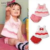 Wholesale Cute Girl Pink Underwear - Baby Outfits & Sets baby Romper Cool summer models girls super cute bow sleeveless T-shirt shirt + dot shorts   Underwear, 3set lot, dandys