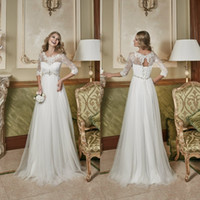 Wholesale maternity dresses for weddings - 2017 Empire Waist Maternity Wedding Dress for Pregnant Women with Lace Appliques and Beading Half Sleeves Tulle Floor Length Bridal Gowns