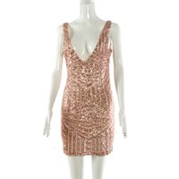 Wholesale sequin cocktail dresses online - Sequin Gold Low cut V Neck Mini Club Cocktail Bodycon Formal Dress