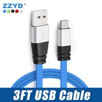 erişte usb telefon kablosu toptan satış-3FT Metal Düz Şehriye Mikro USB Kablosu 2A Data Sync Cep Telefonu Android V8 Tablet için Şarj Adaptörü Kabloları
