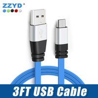 3FT Metal Flat Noodle Micro USB Cable 2A Data Sync Cables de carga del adaptador para teléfono móvil Android V8 Tablet