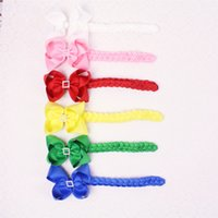 Wholesale Hairbows Supplies - New supply popular 6pc baby girl 4inch hairbows clips with quartet drill Boutique grosgrain ribbon with solid 6inch Knotting braid 2796-Y